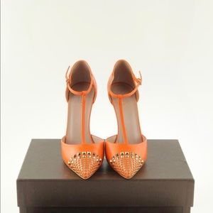 Gucci Neon Orange Studded Leather T-Strap Pumps